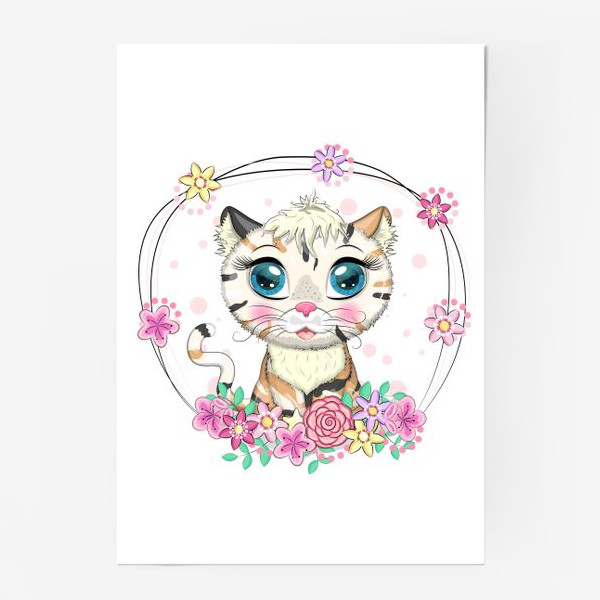Постер «Пятнистая кошечка в цветах, маскировка под тигра»
