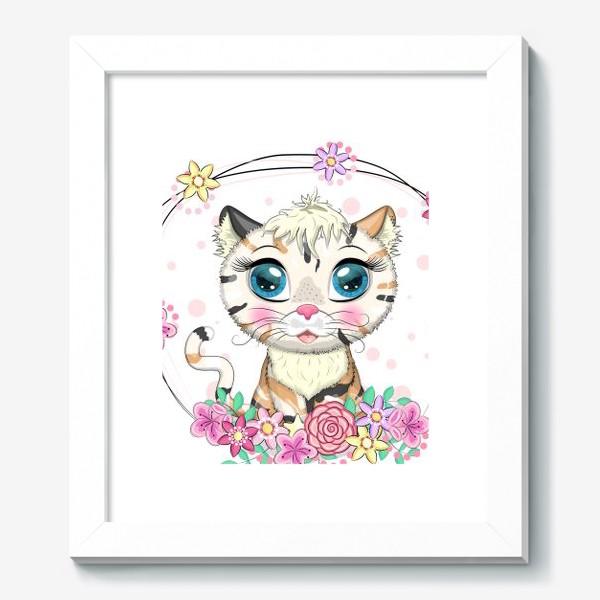Картина «Пятнистая кошечка в цветах, маскировка под тигра»