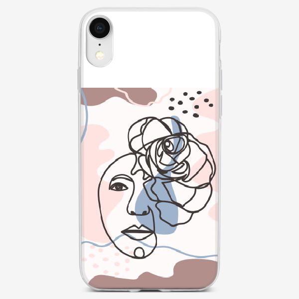 Чехол iPhone «Женский абстрактный портрет с розой в трендовых цветах»