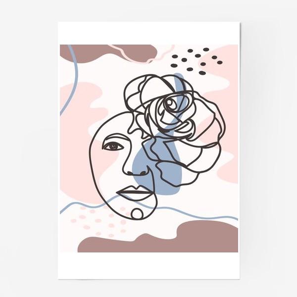 Постер «Женский абстрактный портрет с розой в трендовых цветах»