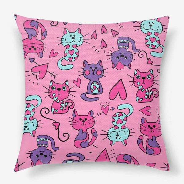 Подушка «Китти валентинки, паттерн»