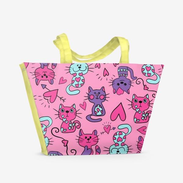Пляжная сумка «Китти валентинки, паттерн»