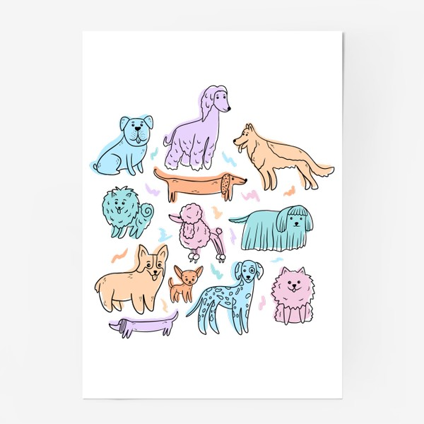 Постер «Разные породы собак(абстракция)»