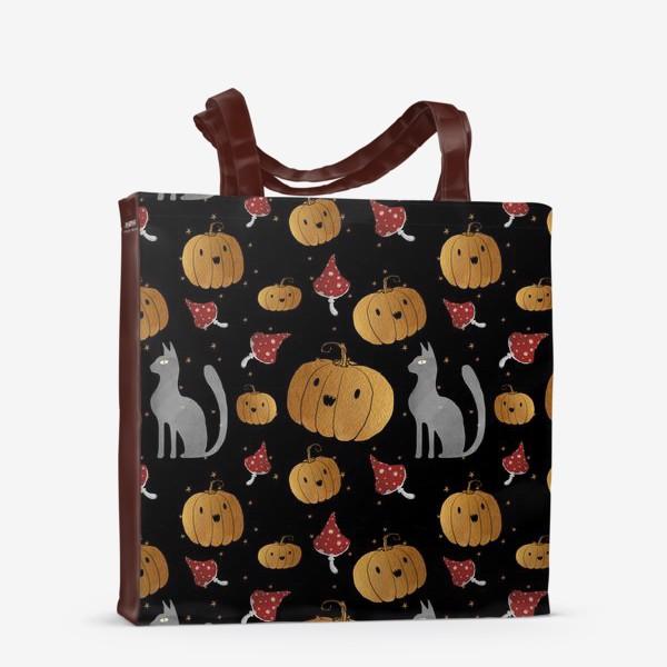 Сумка-шоппер «Тыквы и кошки на Хэллоуин (Halloween) - на черном»