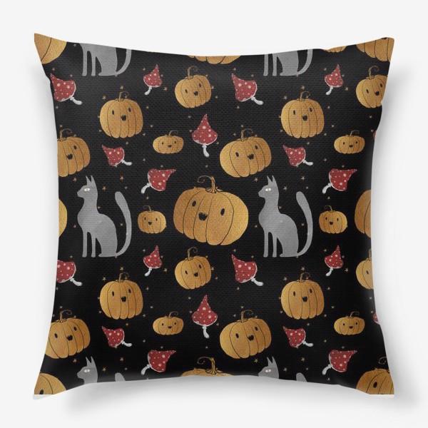 Подушка «Тыквы и кошки на Хэллоуин (Halloween) - на черном»