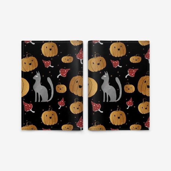 Обложка для паспорта «Тыквы и кошки на Хэллоуин (Halloween) - на черном»