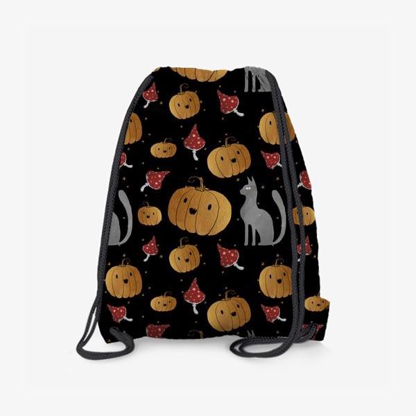Рюкзак «Тыквы и кошки на Хэллоуин (Halloween) - на черном»