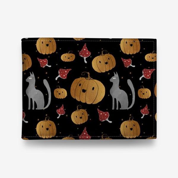 Кошелек «Тыквы и кошки на Хэллоуин (Halloween) - на черном»