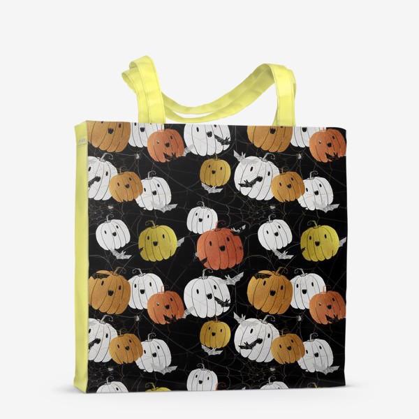 Сумка-шоппер «Разноцветные тыквы и летучие мыши на Хэллоуин (Halloween)»