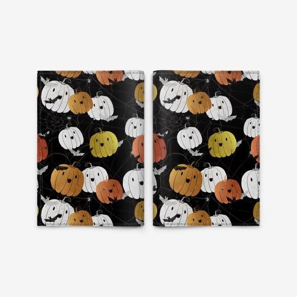 Обложка для паспорта «Разноцветные тыквы и летучие мыши на Хэллоуин (Halloween)»