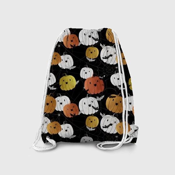 Рюкзак «Разноцветные тыквы и летучие мыши на Хэллоуин (Halloween)»