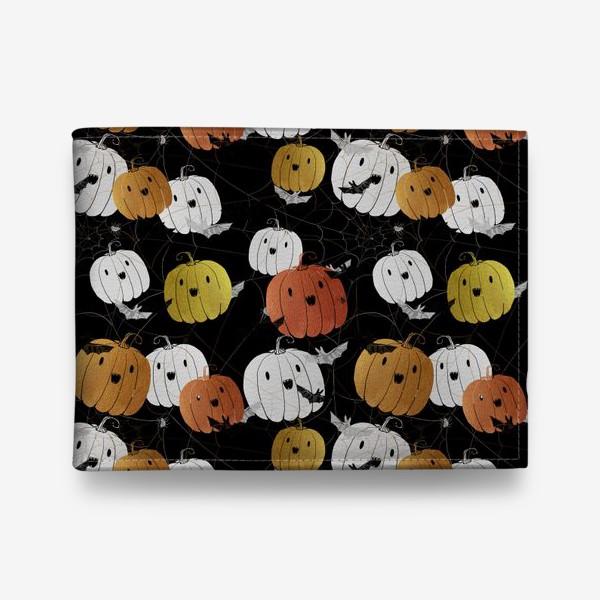 Кошелек «Разноцветные тыквы и летучие мыши на Хэллоуин (Halloween)»
