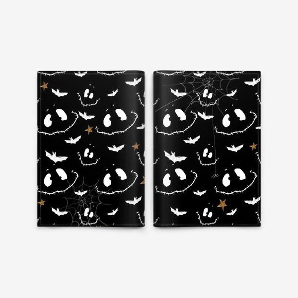 Обложка для паспорта «Улыбки, летучие мыши и звезды на Хэллоуин (Halloween)»