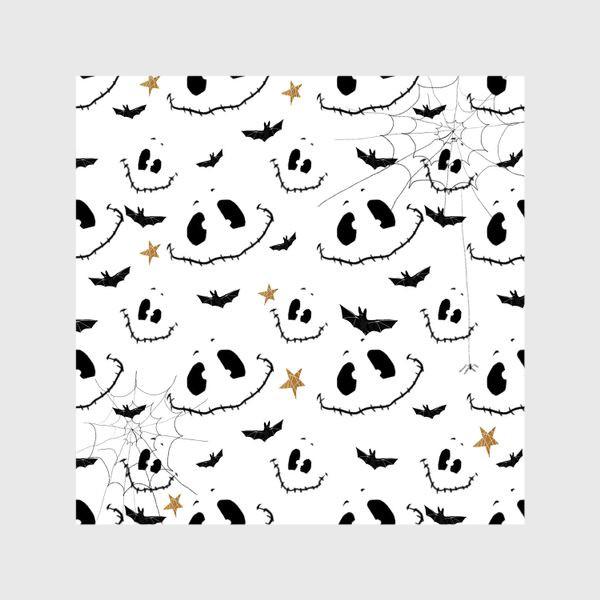Шторы «Улыбки, летучие мыши и звезды на Хэллоуин (Halloween) на белом»