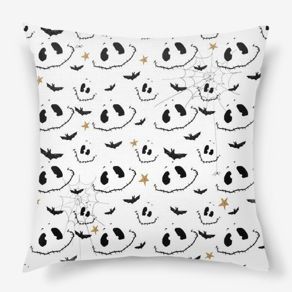 Подушка «Улыбки, летучие мыши и звезды на Хэллоуин (Halloween) на белом»