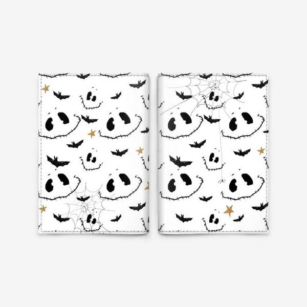 Обложка для паспорта «Улыбки, летучие мыши и звезды на Хэллоуин (Halloween) на белом»