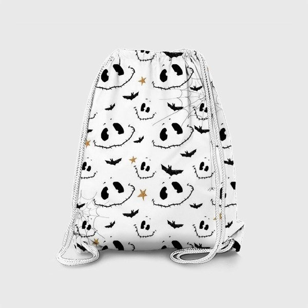 Рюкзак «Улыбки, летучие мыши и звезды на Хэллоуин (Halloween) на белом»