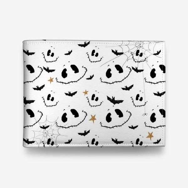 Кошелек «Улыбки, летучие мыши и звезды на Хэллоуин (Halloween) на белом»