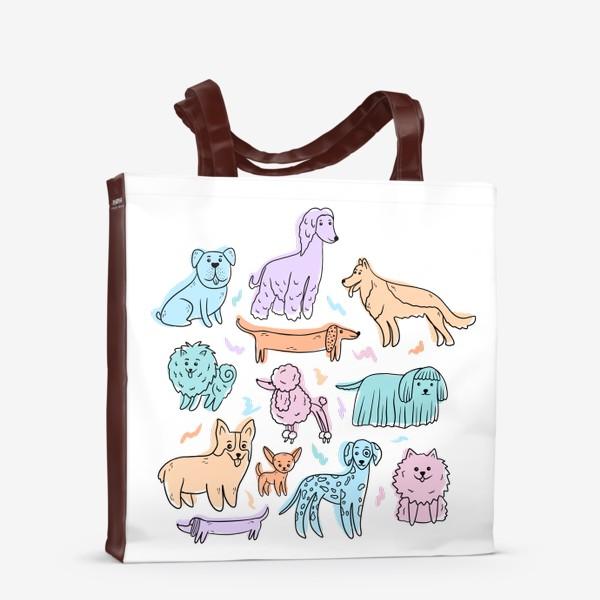 Сумка-шоппер «Разные породы собак(абстракция)»