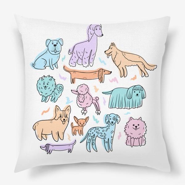 Подушка «Разные породы собак(абстракция)»