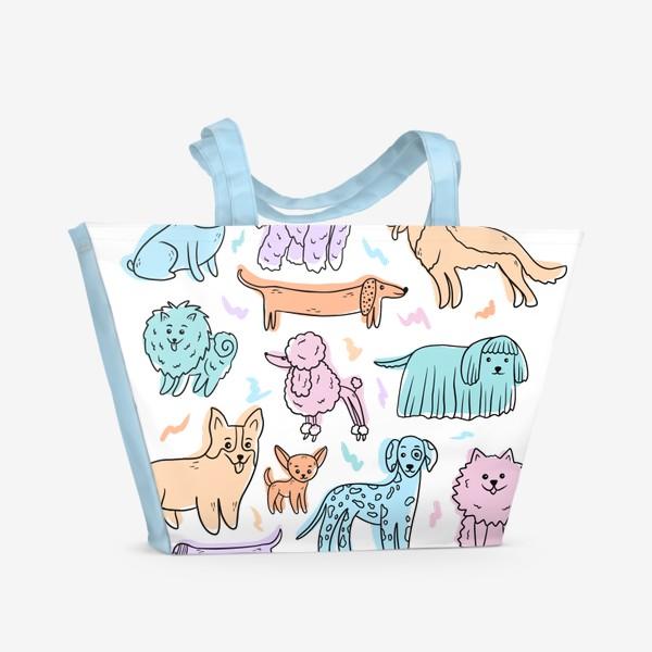 Пляжная сумка «Разные породы собак(абстракция)»