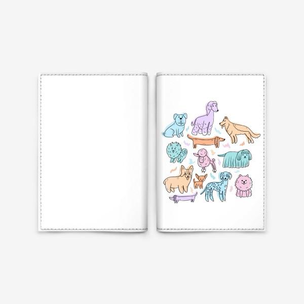 Обложка для паспорта «Разные породы собак(абстракция)»