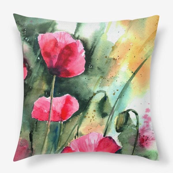 Подушка «red poppy flowers»