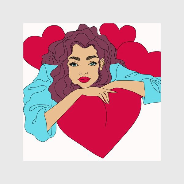Шторы «Девушка с сердцами»