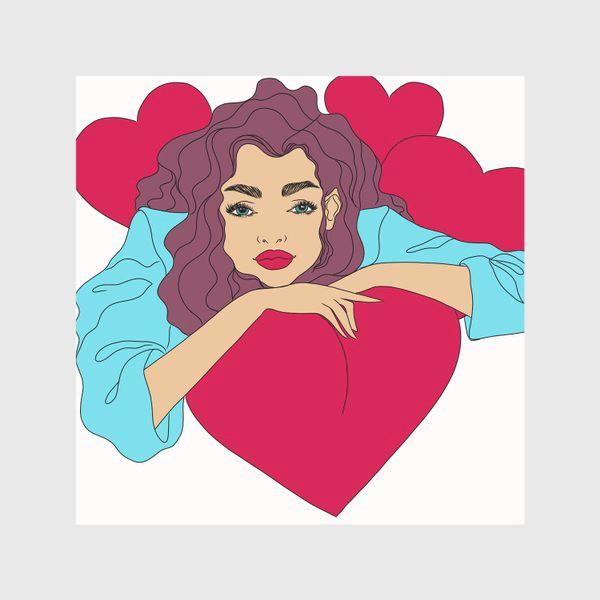 Скатерть «Девушка с сердцами»