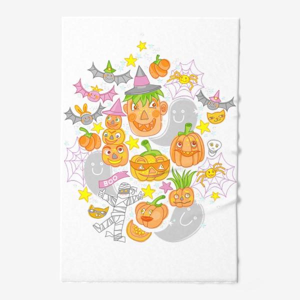 Полотенце «Happy Halloween. Тыквы, призраки, летучие мыши»