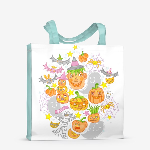 Сумка-шоппер «Happy Halloween. Тыквы, призраки, летучие мыши»