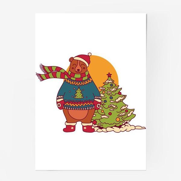 Постер «Новогодний мишка в свитере»