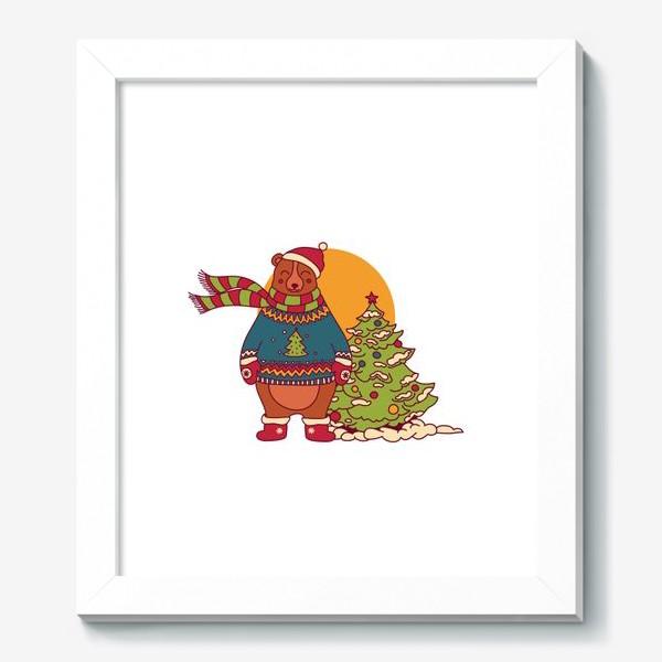 Картина «Новогодний мишка в свитере»