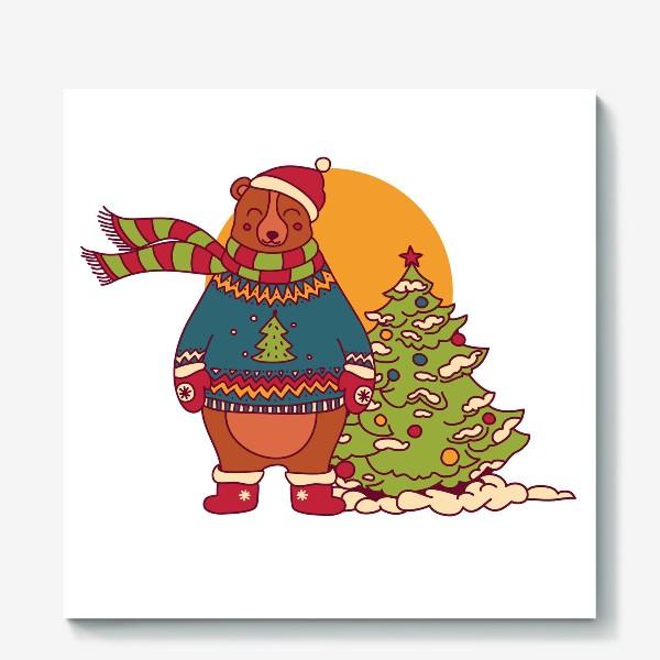 Холст «Новогодний мишка в свитере»