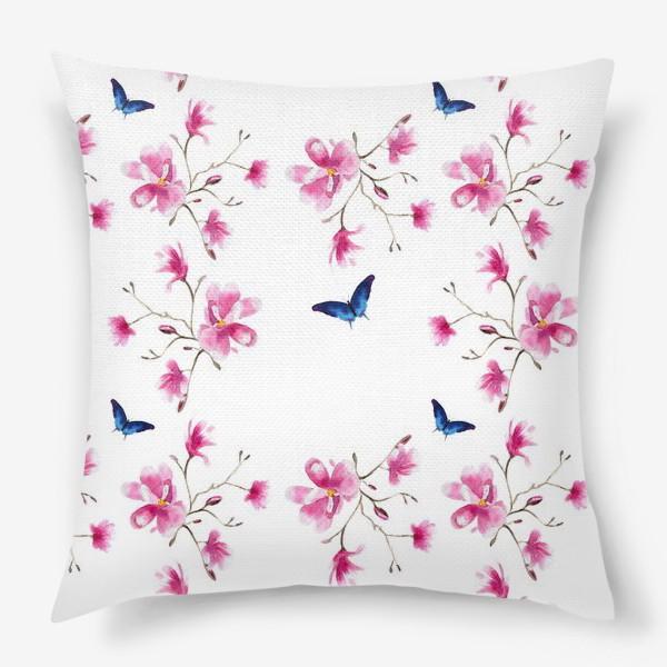 Подушка «Акварельные магнолии и синие бабочки»