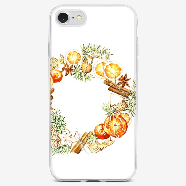 Чехол iPhone «Новогодний венок оранжевый»