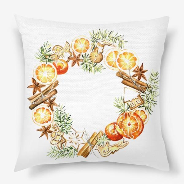 Подушка «Новогодний венок оранжевый»