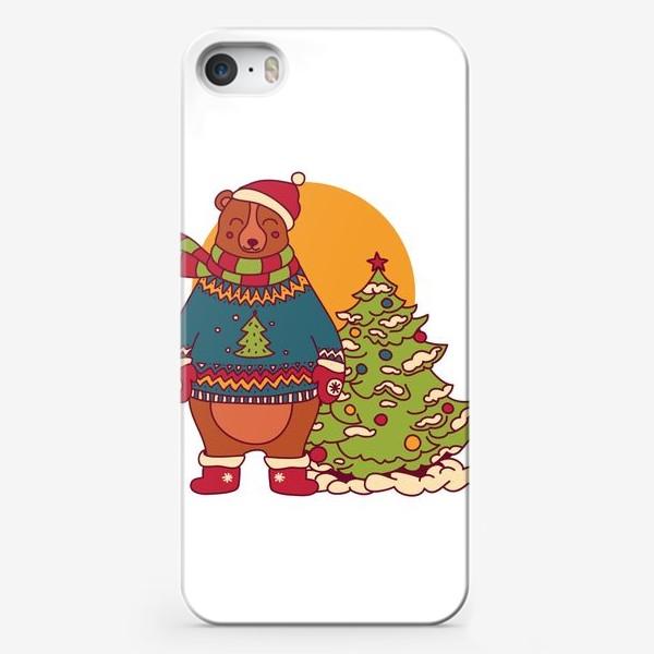 Чехол iPhone «Новогодний мишка в свитере»