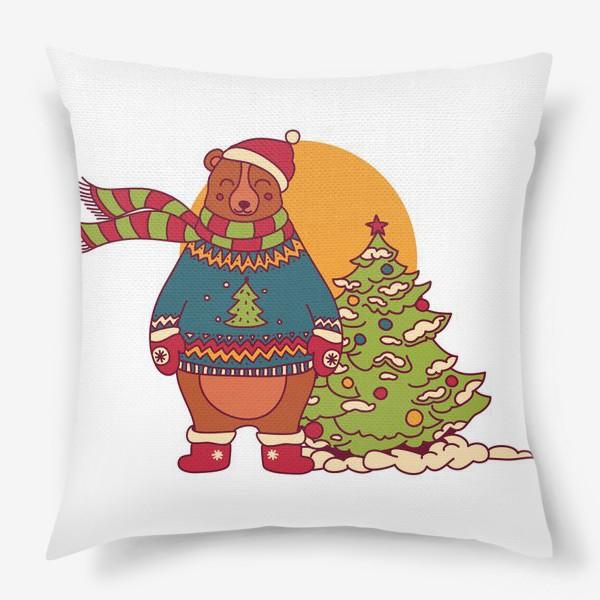 Подушка «Новогодний мишка в свитере»