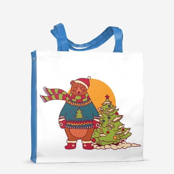 Сумка-шоппер «Новогодний мишка в свитере»