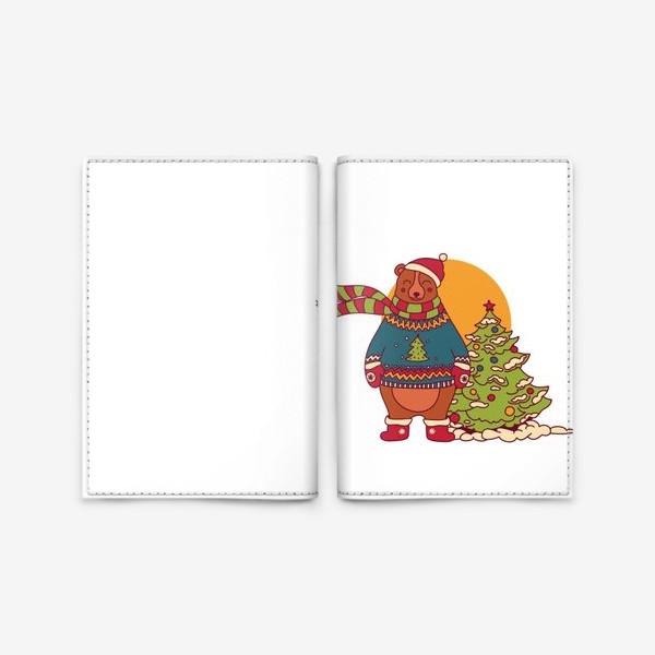 Обложка для паспорта «Новогодний мишка в свитере»