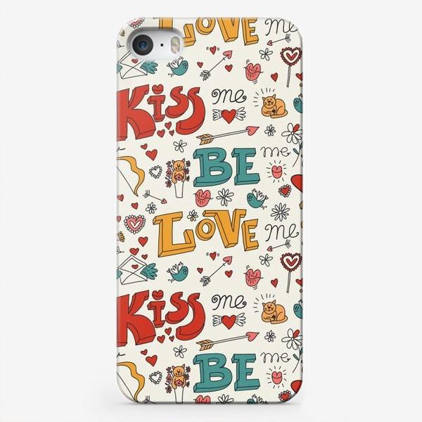Чехол iPhone «Паттерн день святого валентина поцелуй, любовь»