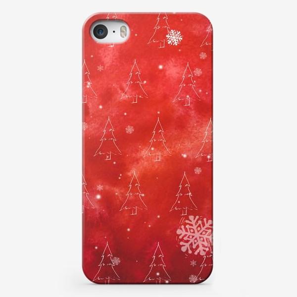 Чехол iPhone «Елки и снежинки»