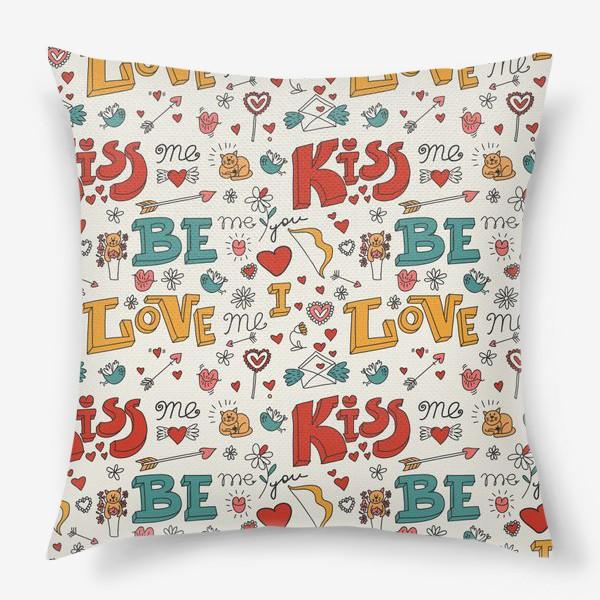 Подушка «Паттерн день святого валентина поцелуй, любовь»