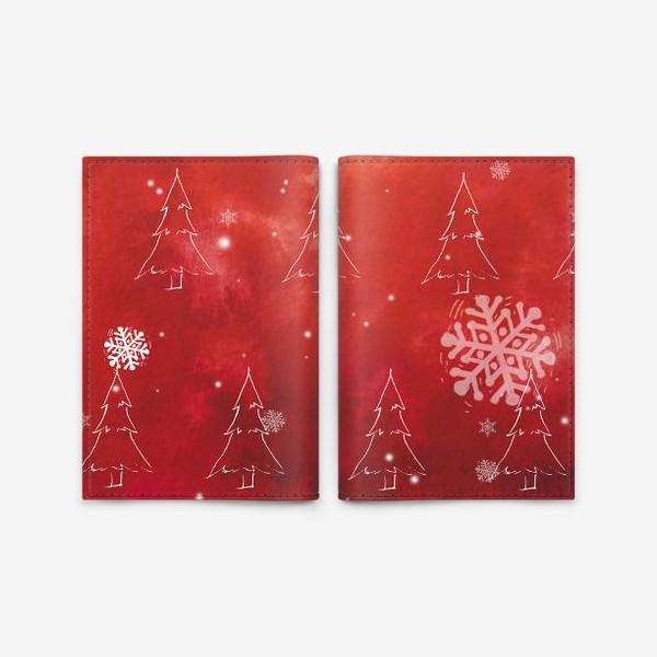 Обложка для паспорта «Елки и снежинки»