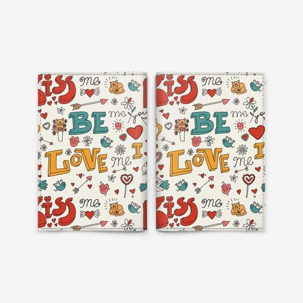 Обложка для паспорта «Паттерн день святого валентина поцелуй, любовь»
