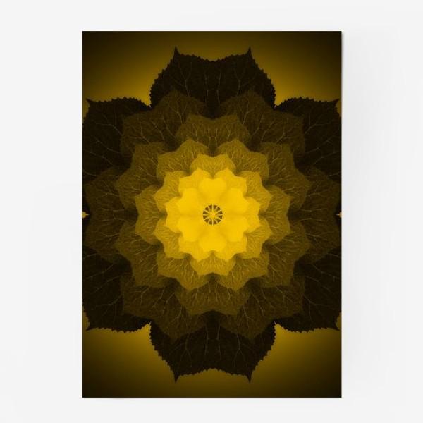 Постер «Мандала из листьев желто-черная»