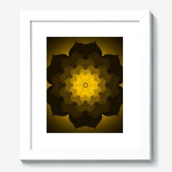 Картина «Мандала из листьев желто-черная»