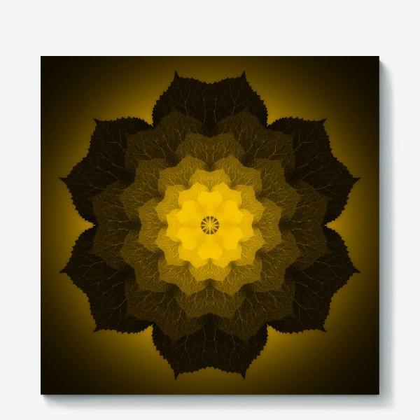 Холст «Мандала из листьев желто-черная»