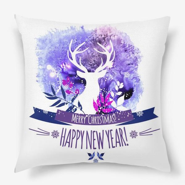 Подушка «Рождественский дизайн с оленем»